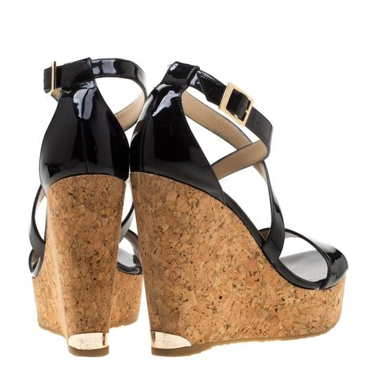 Jimmy Choo Patent Leather Wedge Cross Strap Black Sandals Image 2