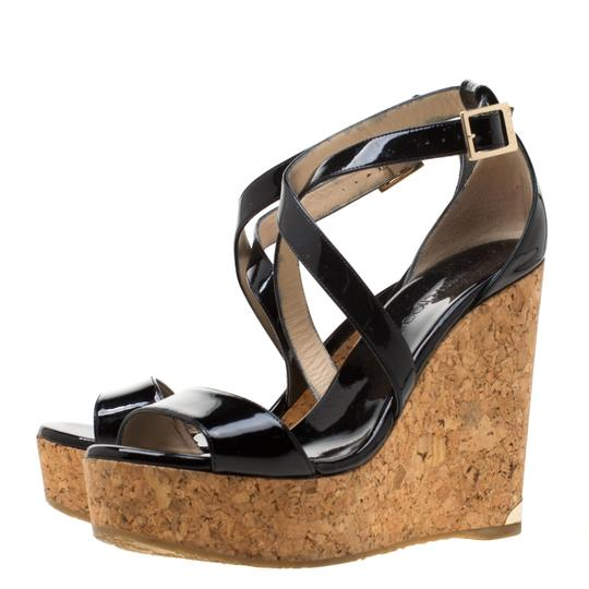 Jimmy Choo Patent Leather Wedge Cross Strap Black Sandals Image 4