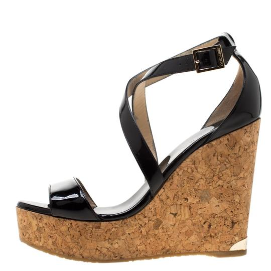 Jimmy Choo Patent Leather Wedge Cross Strap Black Sandals Image 5