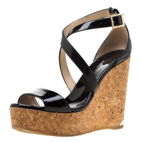 Jimmy Choo Patent Leather Wedge Cross Strap Black Sandals Image 6