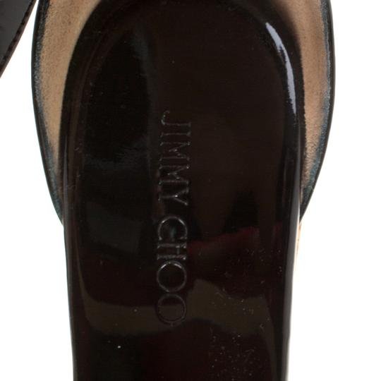 Jimmy Choo Patent Leather Wedge Cross Strap Black Sandals Image 7