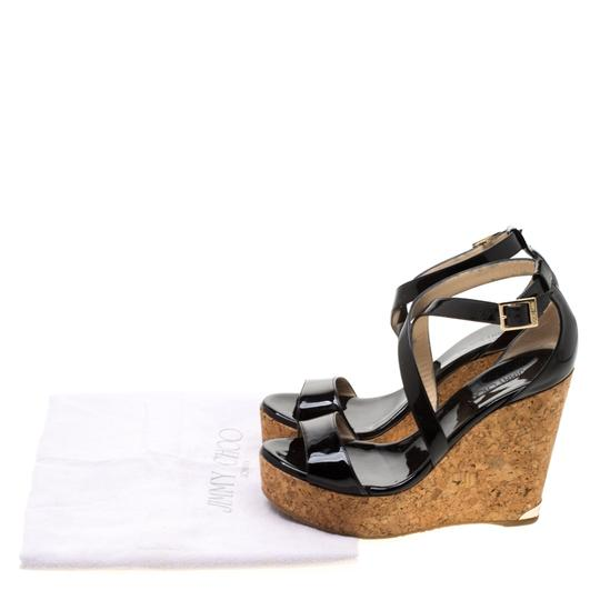 Jimmy Choo Patent Leather Wedge Cross Strap Black Sandals Image 8
