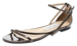 Jimmy Choo Patent Leather Ankle Strap Brown Flats