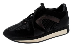 Burberry Suede Mesh Leather Rubber Black Flats
