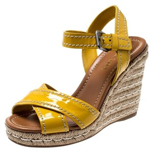 Prada Patent Leather Espadrille Wedge Rubber Yellow Sandals