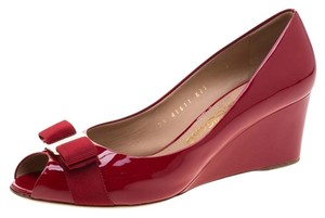 Salvatore Ferragamo Patent Leather Peep Toe Wedge Leather Red Pumps