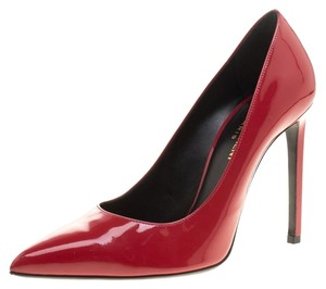 Saint Laurent Paris Patent Leather Skinny Pointed Toe Red Pumps