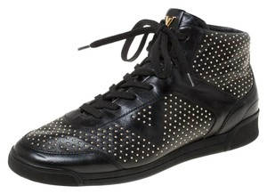Louis Vuitton Leather Embellished Lace Black Flats