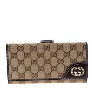 Gucci Beige/Brown GG Canvas and Leather Britt Continental Wallet