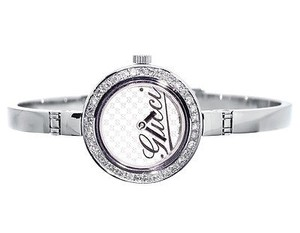 Gucci Ladies Gucci 2ct Genuine Diamond Stainless Steel Bangle Bracelet Watch Ya105528