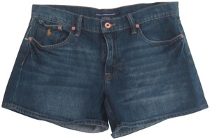 Ralph Lauren Mini Silhouette Embroidered Pony 5-pockets Tonal Stitching Faded/Whiskers Denim Shorts