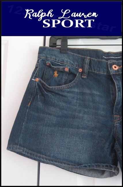 Ralph Lauren Mini Silhouette Embroidered Pony 5-pockets Tonal Stitching Faded/Whiskers Denim Shorts Image 1