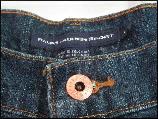 Ralph Lauren Mini Silhouette Embroidered Pony 5-pockets Tonal Stitching Faded/Whiskers Denim Shorts Image 2