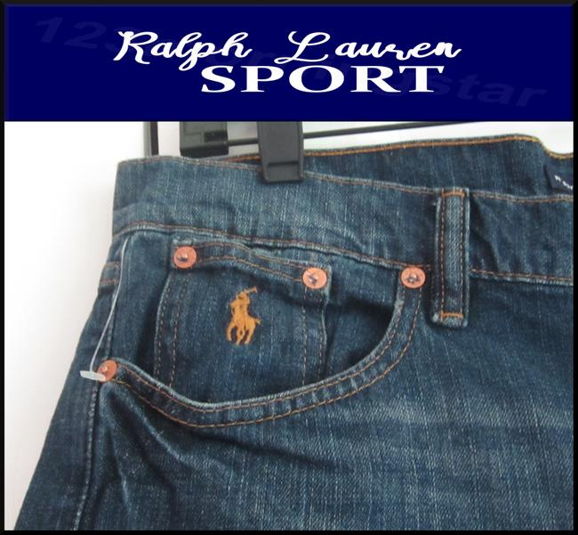 Ralph Lauren Mini Silhouette Embroidered Pony 5-pockets Tonal Stitching Faded/Whiskers Denim Shorts Image 3