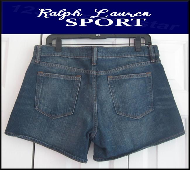 Ralph Lauren Mini Silhouette Embroidered Pony 5-pockets Tonal Stitching Faded/Whiskers Denim Shorts Image 8