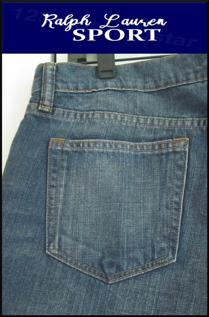 Ralph Lauren Mini Silhouette Embroidered Pony 5-pockets Tonal Stitching Faded/Whiskers Denim Shorts Image 9