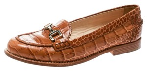 Tod's Embossed Croc Leather Brown Flats