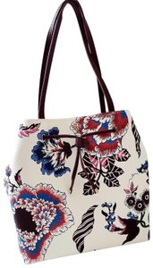 Tory Burch Floral Vintage Large Travel Classic Tote in White multi