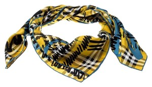 Burberry Burberry Yellow Scribble Check Printed Silk Square Scarf