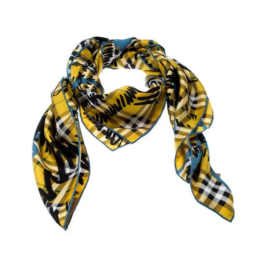 Burberry Burberry Yellow Scribble Check Printed Silk Square Scarf Image 1