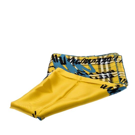 Burberry Burberry Yellow Scribble Check Printed Silk Square Scarf Image 2