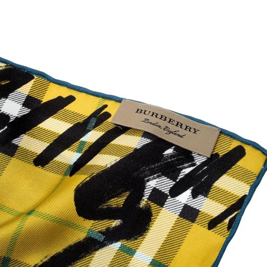 Burberry Burberry Yellow Scribble Check Printed Silk Square Scarf Image 3