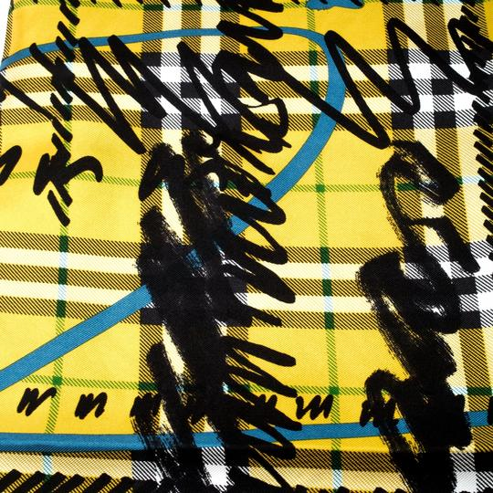 Burberry Burberry Yellow Scribble Check Printed Silk Square Scarf Image 4