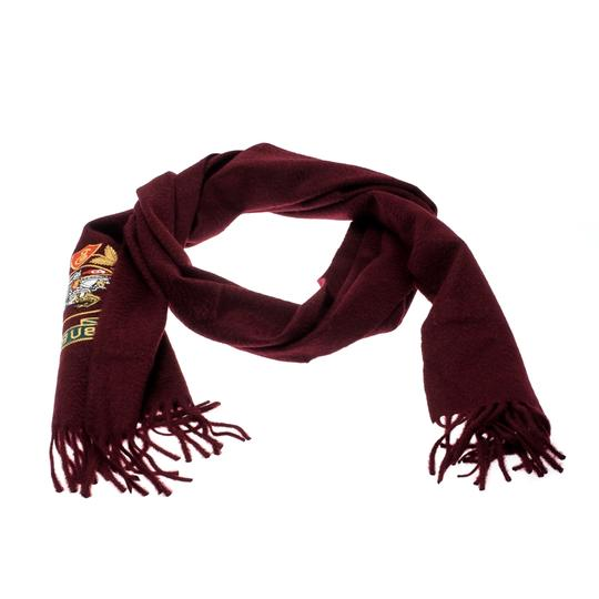 Burberry Burberry Burgundy Cashmere Logo Crest-Embroidered Scarf Image 1