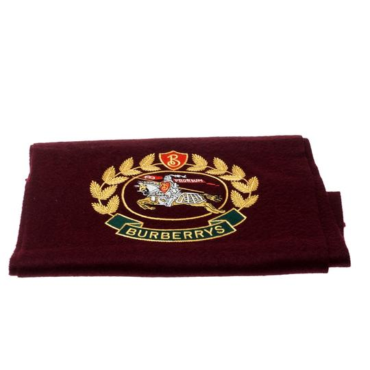 Burberry Burberry Burgundy Cashmere Logo Crest-Embroidered Scarf Image 2