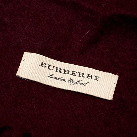 Burberry Burberry Burgundy Cashmere Logo Crest-Embroidered Scarf Image 3