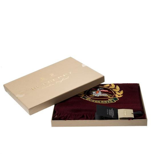 Burberry Burberry Burgundy Cashmere Logo Crest-Embroidered Scarf Image 5