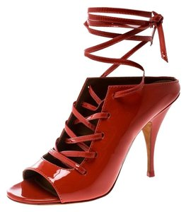 Givenchy Patent Leather Lace Backless Red Sandals