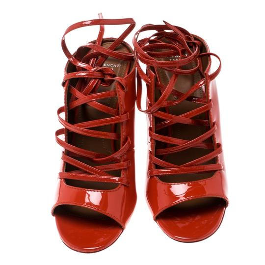 Givenchy Patent Leather Lace Backless Red Sandals Image 1