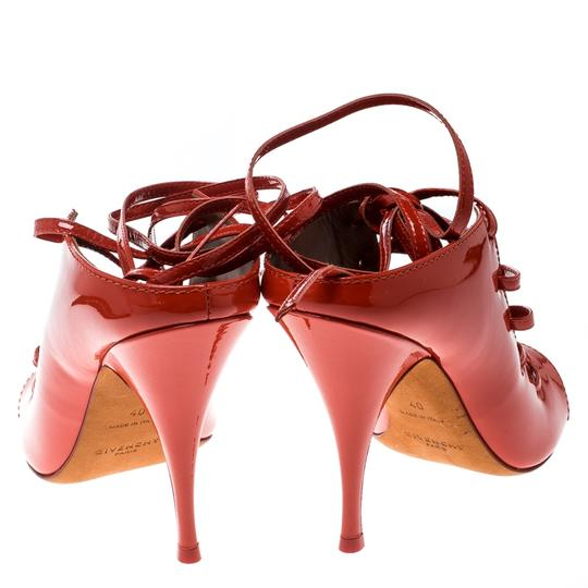 Givenchy Patent Leather Lace Backless Red Sandals Image 2