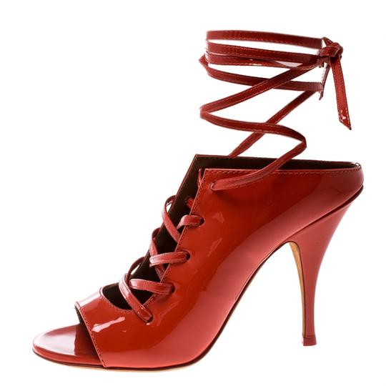 Givenchy Patent Leather Lace Backless Red Sandals Image 5