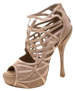 Dior Satin Suede Open Toe Leather Beige Sandals