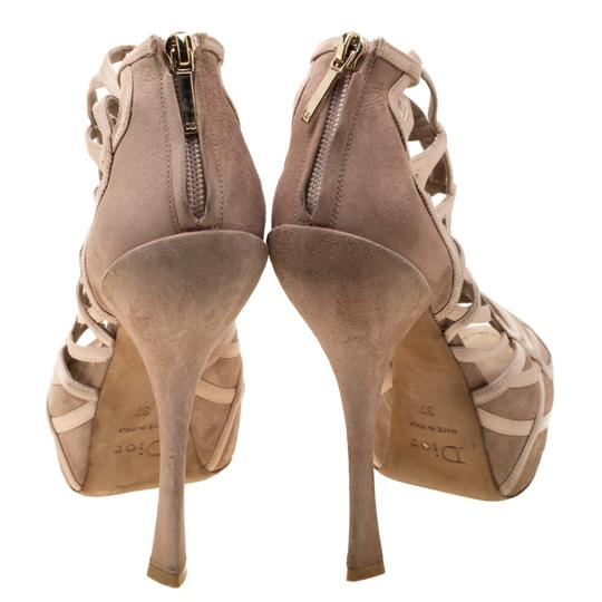 Dior Satin Suede Open Toe Leather Beige Sandals Image 2
