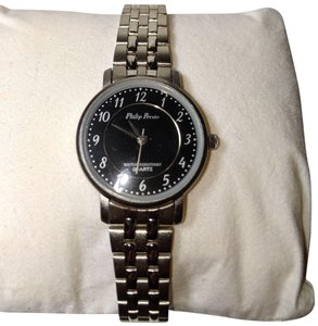 Philip Persio Philip Persio Wrist Watch Water Resistant Silver Tone Black Face B23