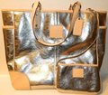 Coach Metro Leather And Wallet Set New Shoulder Tote in Metallic Silver/Natural/SV Image 3