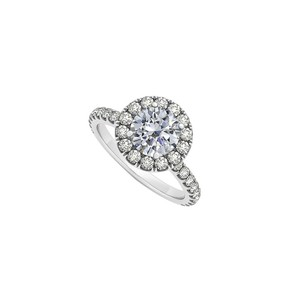 Marco B Halo Engagement Ring with Round Cubic Zirconia April Birthstone