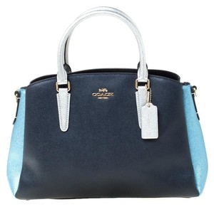 Coach Leather Fabric Satchel in Blue