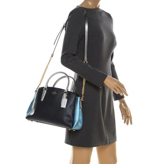 Coach Leather Fabric Satchel in Blue Image 2