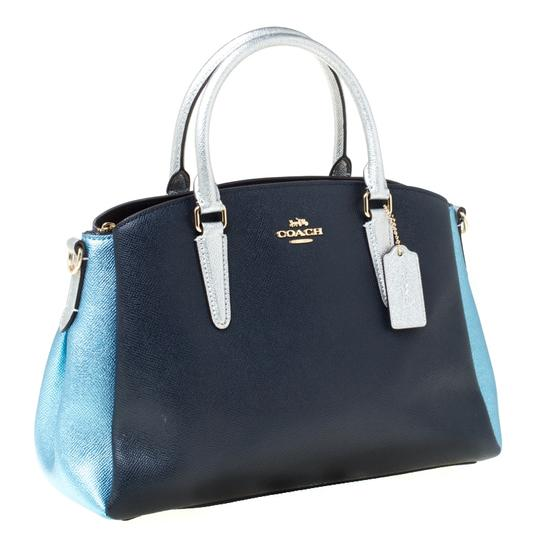 Coach Leather Fabric Satchel in Blue Image 4