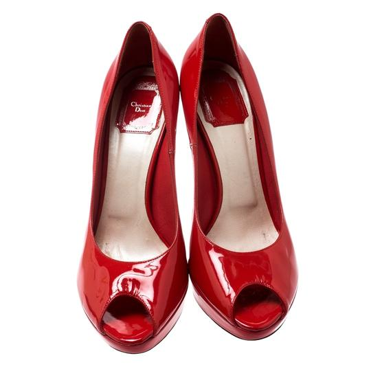 Dior Patent Leather Peep Toe Platform Leather Red Pumps Image 1