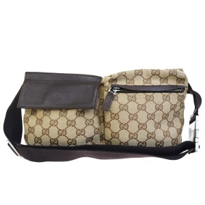 Gucci GUCCI GG Logo Pattern Bum Bag Belt Canvas Leather Brown Italy