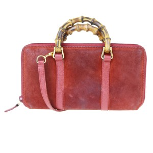 Gucci GUCCI Bamboo Long Zipper Wallet Shoulder Hand Bag Suede Leather Red