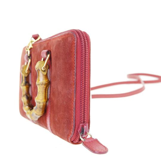 Gucci GUCCI Bamboo Long Zipper Wallet Shoulder Hand Bag Suede Leather Red Image 1