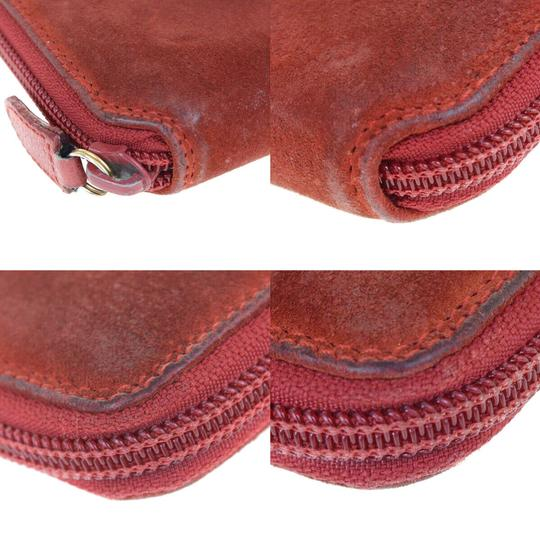 Gucci GUCCI Bamboo Long Zipper Wallet Shoulder Hand Bag Suede Leather Red Image 11