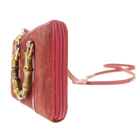 Gucci GUCCI Bamboo Long Zipper Wallet Shoulder Hand Bag Suede Leather Red Image 2