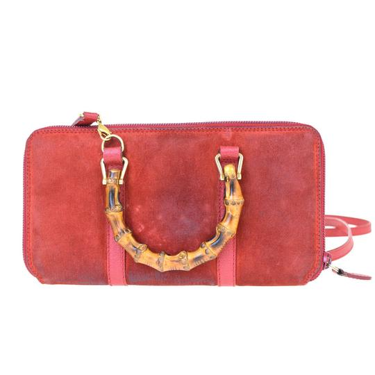 Gucci GUCCI Bamboo Long Zipper Wallet Shoulder Hand Bag Suede Leather Red Image 3
